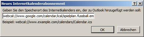 paste the calendar URL for Euro 2016